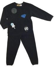 Velour PJ W/ Appliques Black 1