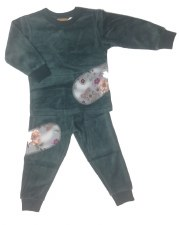 Velour PJ W/ Floral Patches Gr