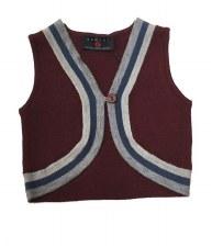 Bolero Vest W/ Stripe Burgundy