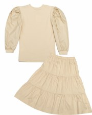 Teen 2pc W/ Tiered SKirt Beige