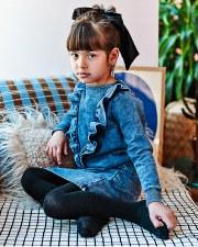 Denim Ruffle Dress Blue 6X
