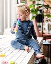 Denim Ruffle Baby Set Blue 9M