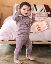 Denim Ruffle Baby Set Pink 6M