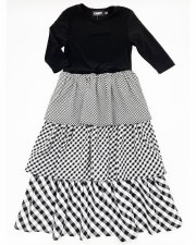 Tiered Checkered Robe Black/Wh