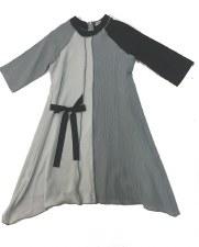 2tone Dress W/ Tie Grey 5