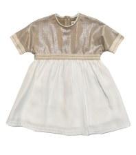 Metallic Dress W/ Trim Gold/Wh