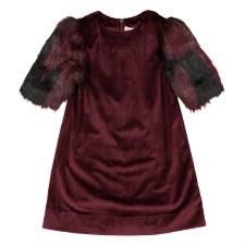 Dress w/ Fur Sleeves Merlot 6