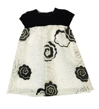 Dress W/ Lace Roses Black/Whit