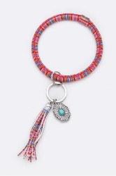 Turquoise Concho Serape Tassel Key Chain