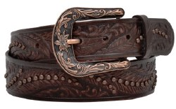 Ladies Distressed Feather Embossed Belt