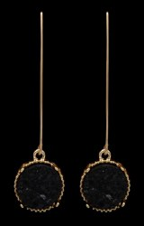 Black Druzy Hook Earrings