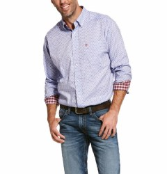 Mens Dusted Blue Wrinkle Free Shirt