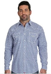 Mens Blue/Red Print Snap Shirt