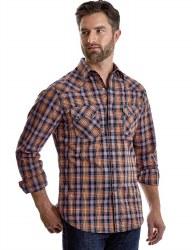 Mens Retro Plaid Western Snap Shirt