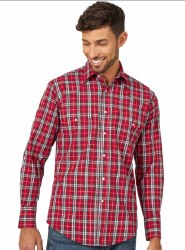 Mens Red Plaid Wrinkle Resist Shirt