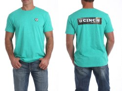 Mens Teal Cinch Logo Tee