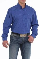 Mens Cinch Blue Print Button Shirt