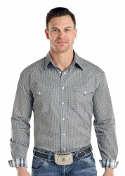 Mens Gray Vintage Print Snap Shirt