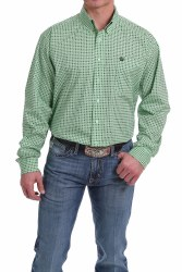 Mens Green Geo Print Button Shirt
