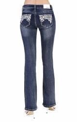 Ladies Grace in LA Floral Lace Bootcut Jeans