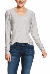 Ladies Heather Grey Jersey V-Neck Top