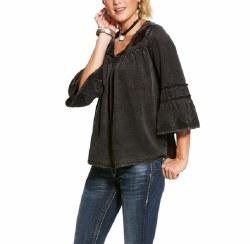 Ladies Black Bell Sleeve Tunic