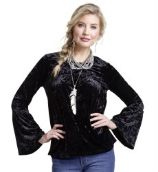 Ladies Black Crushed Velvet Top