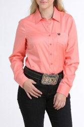 Ladies Pink Tencel Button Shirt