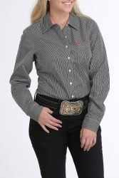 Ladies Black Stripe Button Shirt