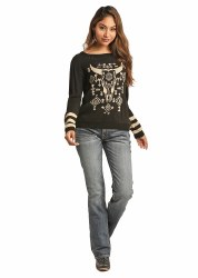 Ladies Black Steerhead Sweater