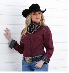 Ladies Burgundy Stripe Button Shirt