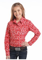 Girls Red Hearts Print Snap Shirt