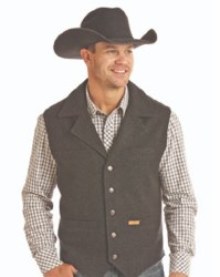 Mens Black Heather Wool Vest