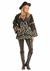 Ladies Black Aztec Wool Cape Coat