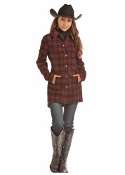 Ladies Ombre Wool Plaid Coat