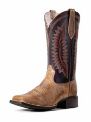 Ladies Almond Buff Square Toe Boot