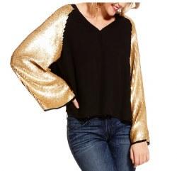 Ladies Gold Sequin Metallic Top