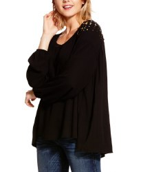 Ladies Black Pleated Vegas Top
