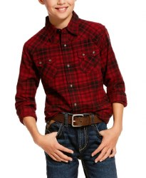 Boys  Retro Red Plaid Snap Shirt