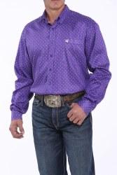Mens Purple Print Button Shirt