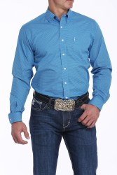 Mens Blue Printed Button Shirt