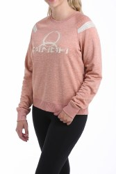 Ladies Pink Waffle Pullover