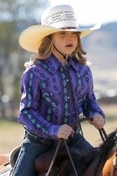 Girls Purple Print Rhinestone Snap Shirt