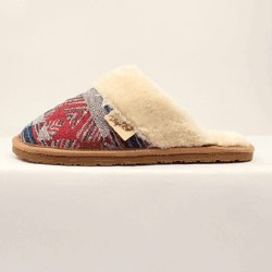 Ladies Red & Blue Slide On Slippers