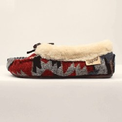 Ladies Red & Blue Moccasin Slippers