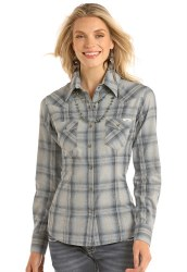 Ladies Grey Twill Snap Shirt