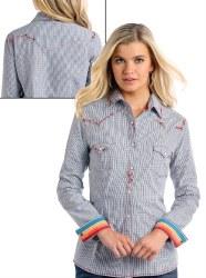 Ladies Geo Print Snap Shirt