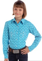 Girls Turq Feather Print Snap Shirt