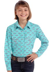 Girls Turq Print Snap Shirt