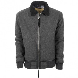 Mens Grey Wool Parker Jacket